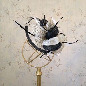 Black & Cream Hat/ Hair Accessory